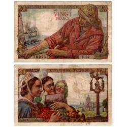 (100a) Francia. 1942. 20 Francs (BC+) Manchas
