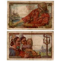 (100a) Francia. 1942. 20 Francs (BC) Pequeños agujeros
