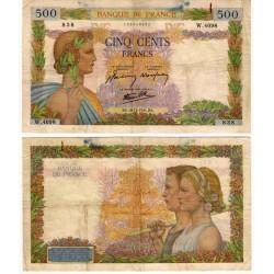(95b) Francia. 1941. 500 Francs (BC+) Roturas y manchas