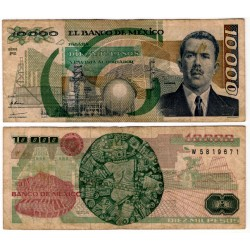 (90c) Estados Unidos Mexicanos. 1989. 10000 Pesos (BC) Mancha.