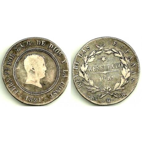 Fernando VII. 1821. 10 Reales (BC+) (Plata) Ceca de Madrid SR