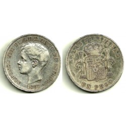 Alfonso XIII. 1897. 1 Peso (MBC-) (Plata) Ceca de Manila SG-V