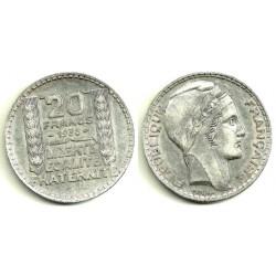 (879) Francia. 1938. 20 Francs (EBC) (Plata)