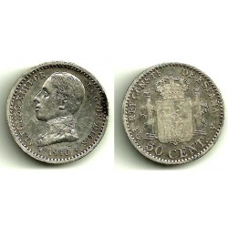 Alfonso XIII. 1910*(1-0). 50 Céntimos (MBC) (Plata) Ceca de Madrid PC-V