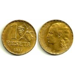 II República. 1937. 1 Peseta (EBC) Ceca de Madrid