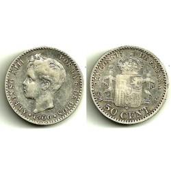 Alfonso XIII. 1900*(0-0). 50 Céntimos (MBC-) (Plata) Ceca de Madrid SM-V