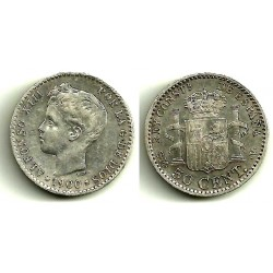 Alfonso XIII. 1900*(0-0). 50 Céntimos (MBC) (Plata) Ceca de SM-V
