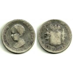 Alfonso XIII. 1891*(-----). 1 Peseta (BC-) (Plata) Ceca de Madrid PG-M