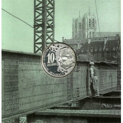 Bélgica. 2002. 10 Euro (Proof) (Plata) Tren Bruselas Norte
