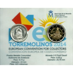 España. 2014. Coincard 2 Euro + Medalla Andalucia (SC) European Convention For Collectors