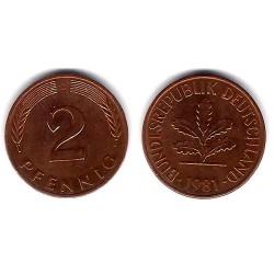 (106a) Alemania. 1981(D). 2 Pfennig (MBC)