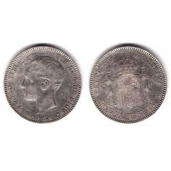 Alfonso XIII. 1900*(19-00). 1 Peseta (EBC) (Plata) Ceca de Madrid SM-V