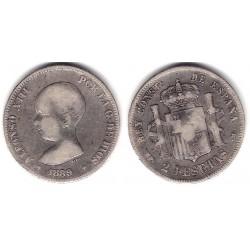 Alfonso XIII. 1889*(-----). 2 Pesetas (BC) (Plata) Ceca de Madrid MP-M