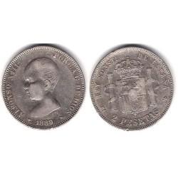 Alfonso XIII. 1889*(18-89). 2 Pesetas (MBC-) (Plata) Ceca de Madrid MP-M