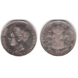 Alfonso XIII. 1896*(18-96). 1 Peseta (MBC+) (Plata) Ceca de Madrid PG-V