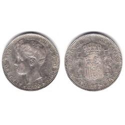 Alfonso XIII. 1900*(19-00). 1 Peseta (MBC) (Plata) Ceca de Madrid SM-V