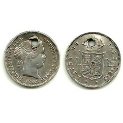 Isabel II. 1860. 1 Real (MBC-) (Plata) Agujereada