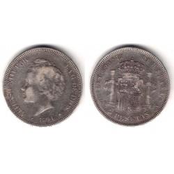 Alfonso XIII. 1894*(18---). 5 Pesetas (BC) (Plata) Ceca de Madrid PG-V