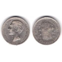 Alfonso XII. 1876*(1--76). 1 Peseta (MBC-) (Plata) Ceca de Madrid DE-M