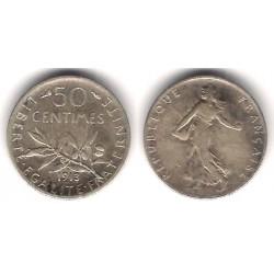 (854) Francia. 1913. 50 Centimes (BC+) (Plata)