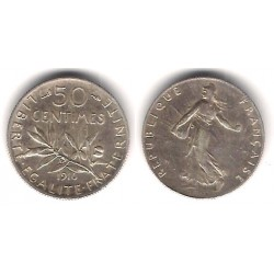 (854) Francia. 1916. 50 Centimes (EBC) (Plata)