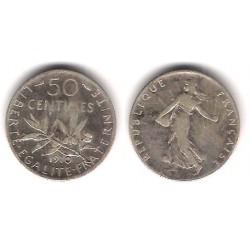 (854) Francia. 1910. 50 Centimes (BC+) (Plata)