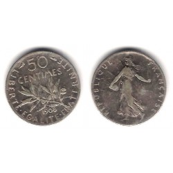 (854) Francia. 1908. 50 Centimes (BC) (Plata)