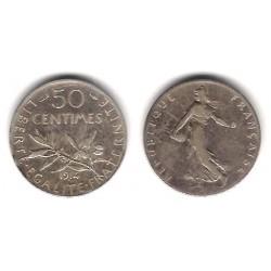 (854) Francia. 1914. 50 Centimes (MBC-) (Plata)