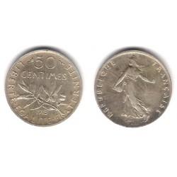(854) Francia. 1915. 50 Centimes (MBC+) (Plata)