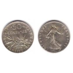 (854) Francia. 1918. 50 Centimes (EBC) (Plata)