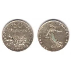 (854) Francia. 1917. 50 Centimes (MBC+) (Plata)