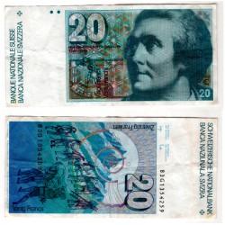 (55) Suiza. 1981-83. 20 Francs (MBC)