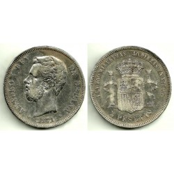 Amadeo I. 1871*(18-71). 5 Pesetas (BC) (Plata) Ceca de Madrid SD-M. Variante
