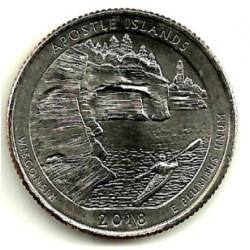 Estados Unidos de América. 2018(D). Quarter Dollar (SC) Apostle Island