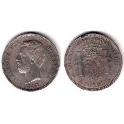 Amadeo I. 1871*(18-74). 5 Pesetas (MBC-) (Plata) Ceca de Madrid DE-M