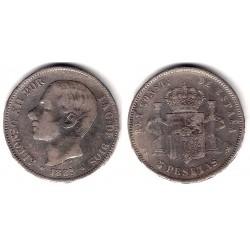 Alfonso XII. 1885*(18-85). 5 Pesetas (BC) (Plata) Ceca de Madrid MS-M