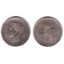 Alfonso XIII. 1898*(18-98). 5 Pesetas (MBC-) (Plata) Ceca de Madrid SG-V