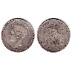 Alfonso XIII. 1896*(18-96). 5 Pesetas (BC) (Plata) Ceca de Madrid PG-V