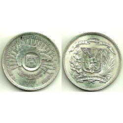 (35) República Dominicana. 1974. 1 Peso (EBC+) (Plata)