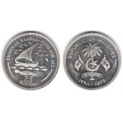 Maldivas. 1978. 25 Rufiyaa (SC) (Plata)