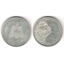 (205) Alemania. 2001(J). 10 Marcos (SC) (Plata)