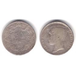 (71) Bélgica. 1910. 50 Centimes (BC) (Plata)