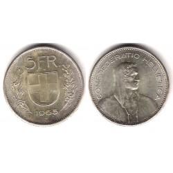 (40) Suiza. 1965(B). 5 Francs (SC) (Plata)