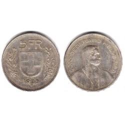 (40) Suiza. 1935(B). 5 Francs (MBC-) (Plata)