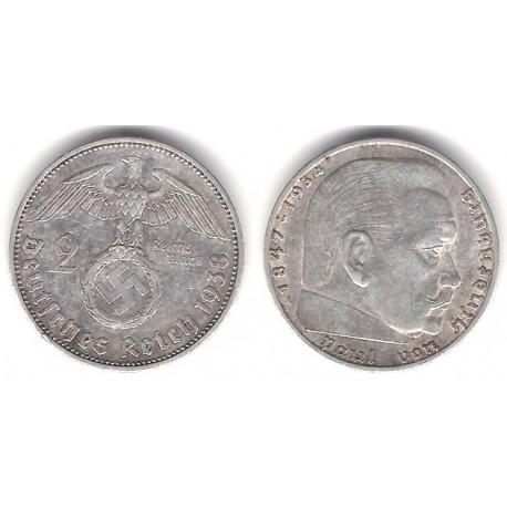 (93) Alemania (III Reich). 1938(A). 2 Mark (MBC) (Plata)