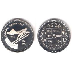 (1071) Nepal. 1992. 500 Rupees (Proof) (Plata)