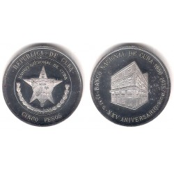 (36) Cuba. 1975. 5 Pesos (Proof) (Plata)
