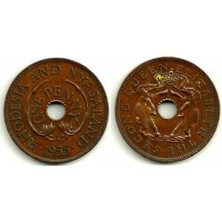 (2) Rhodesia & Nyasaland. 1955. 1 Penny (EBC+)