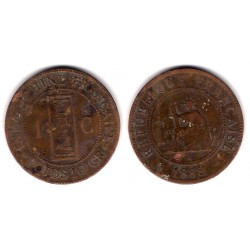 (6) Indochina Francesa. 1888(A). 1 Cent (MBC-)