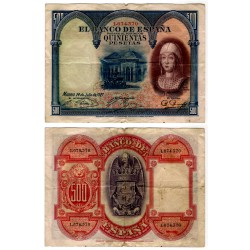 [1927] Billete 500 Pesetas (SC) Sin Sere. Leves roturas marjenes